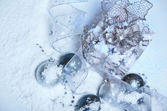 Snow and Christmas decoration Royalty Free Stock Photo