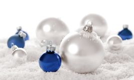 Snow christmas ornaments Royalty Free Stock Photos