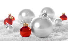 Snow christmas ornaments Stock Photos