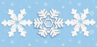 Snow Christmas poster. Christmas winter poster with three beautiful white different snowflakes on light blue textured background. Digital Illustration. Children vector illustration
