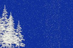 Snow and Christmas Trees Background. Seasonal Christmas blue background illustration with white christmas trees and falling snow Stock Photography