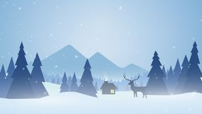 Snow and Christmas trees. 4K. Seamless loop