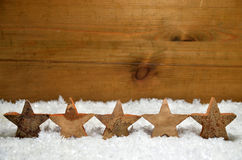 Snow Christmas wooden background Stock Photo