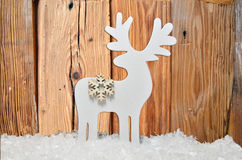 Snow Christmas wooden background Royalty Free Stock Photo