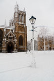 Snow church and lamp Royalty Free Stock Photography