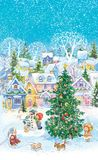 Snow City. Cute children play in winter courtyard. Watercolor. Hand drawn. Christmas tree Stock Photography