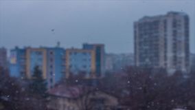 Snow in the City stock footage