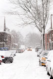 Snow in the city - Snowstorm streetview Royalty Free Stock Image