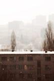 Snow in city Stock Photo