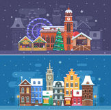 Snow City and Winter Festival Banners. Snow city landscapes with winter Europe town and christmas market. Winter fair festival banner with cathedral building and Stock Image
