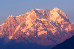 Snow clad Chaukhambha peak Stock Photos