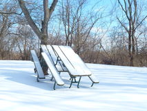 Snow-clad Picnic Table Royalty Free Stock Image