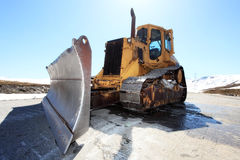 Snow-cleaning bulldozer Royalty Free Stock Image