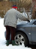 Snow cleaning from car 3 Royalty Free Stock Images