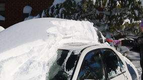 Snow cleaning car stock video