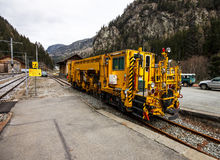 Snow cleaning train at Switzerland 2 royalty free stock photography