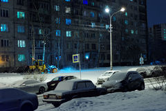 Snow clearance in St. Petersburg, Russia Royalty Free Stock Images