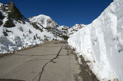 Snow Cleared From Mountain Road Royalty Free Stock Photography