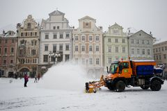 Snow clearing in Prague. Machines clearing the streets after a snowy night Royalty Free Stock Photos