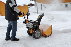 Snow clearing with the snow mill Royalty Free Stock Images