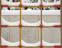 Snow on the climb net rope Royalty Free Stock Photo