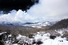 Snow & Cloud & dark sky royalty free stock image