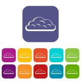 Snow cloud icons set flat Royalty Free Stock Images
