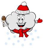 Snow cloud with scarf and hat Stock Photo