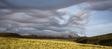 Snow clouds over Bucegi, Romania. Stock Photos