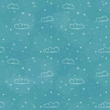 Snow and clouds  pattern on blue background Stock Photos