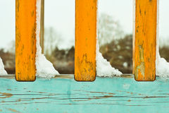 Snow on railings Stock Images