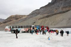 Snow-coach in Columbia Ice field Stock Photography