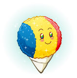 Snow Cone Cartoon Character Smiling with Rosy Cheeks. A snow cone cartoon character with a bright cheerful smile and rosy cheeks with blue, yellow and red Royalty Free Stock Photos