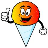 Snow Cone with Thumbs Up. A vector illustration of a Snow Cone with Thumbs Up royalty free illustration