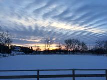 snow at country side in sunset afternoon Royalty Free Stock Photo