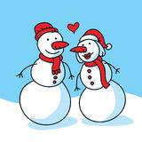Snow Couple in Love Stock Photography