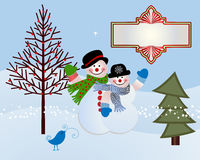 Snow couple. Snowman and Snowwoman with banner trees and bird Royalty Free Stock Photos