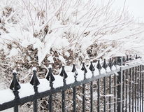 Snow cover fence Stock Photos
