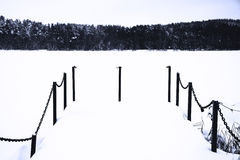 Snow cover pier. Winter landscape royalty free stock photos