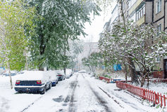 Snow coverd street in Gomel, Belarus. Royalty Free Stock Images