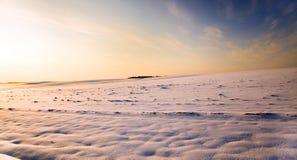 Snow-covered поле. заход солнца Стоковые Фотографии RF