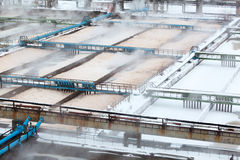 Snow-covered aeration wastewater tanks Royalty Free Stock Photos