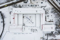 The snow-covered aircraft from above Royalty Free Stock Images