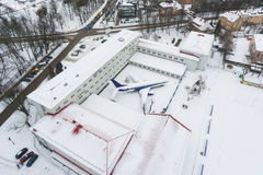 The snow-covered aircraft from above Stock Photography