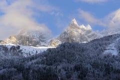 Snow-covered Alpiene Hellingen Stock Afbeeldingen