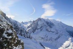 Snow-covered Alpiene Hellingen La vallée blanche Royalty-vrije Stock Foto's