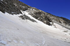 Snow covered alpine landscape on Colorado 14er Little Bear Peak Stock Photography
