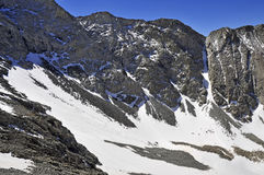 Snow covered alpine landscape on Colorado 14er Little Bear Peak Royalty Free Stock Images