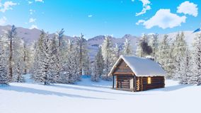 Snow covered alpine mountain house at winter day stock video