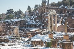 Snowed in and closed Roman Forum. Snow-covered and ancient Roman Forum left abandoned and closed on a snow day in Rome Stock Images